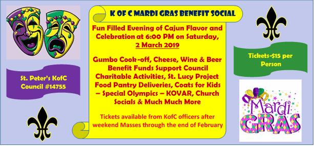 KofC Mardi Gras Benefit Social – March 2nd